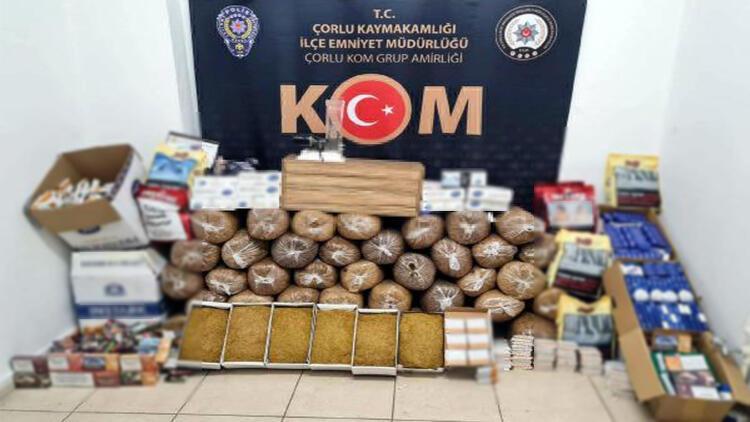Tekirdağ'da kaçak tütün operasyonu: 9 gözaltı