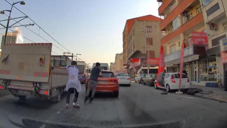Patenli gençlerin tehlikeli yolculuğu araç kamerasında