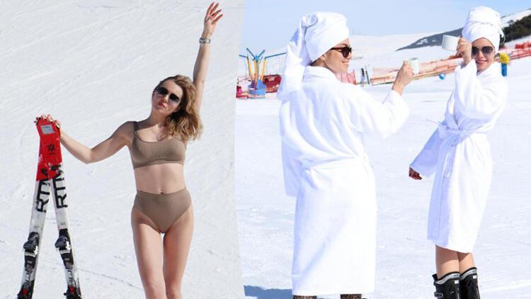 Palandöken'de ilginç görüntü! Bornozla kayıp bikiniyle poz verdiler