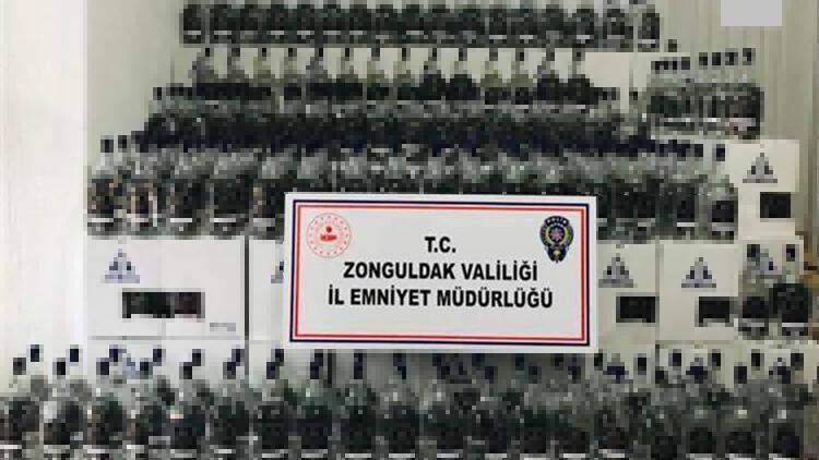 Zonguldak'ta bir iş yerinin deposunda 1150 litre etil alkol ele geçirildi