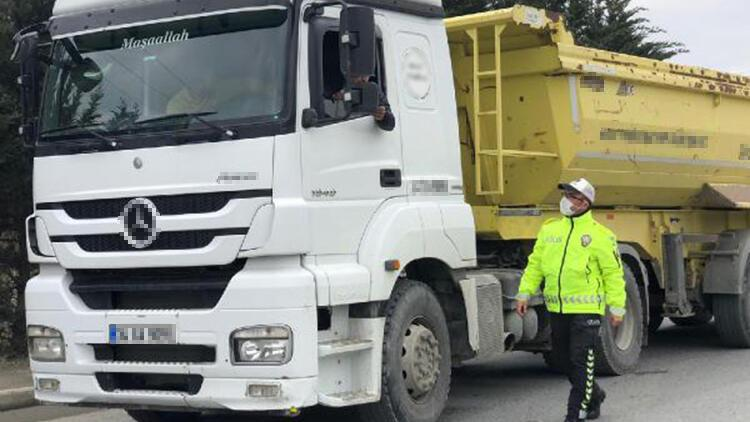 Arnavutköy'de hafriyat kamyonlarına yönelik denetim yapıldı