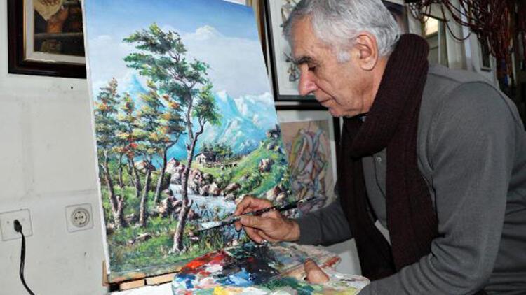 Emekli astsubayın yaptığı resimler ilgi görüyor