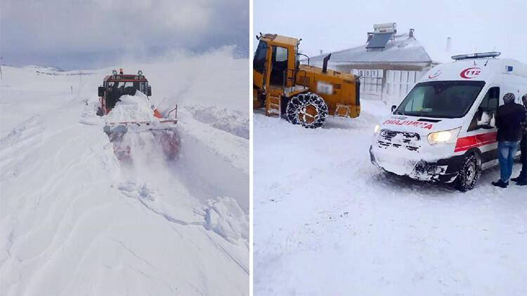 Van'da kardan kapanan yollar açılıyor, hastalar sağlık ekiplerine ulaştırılıyor