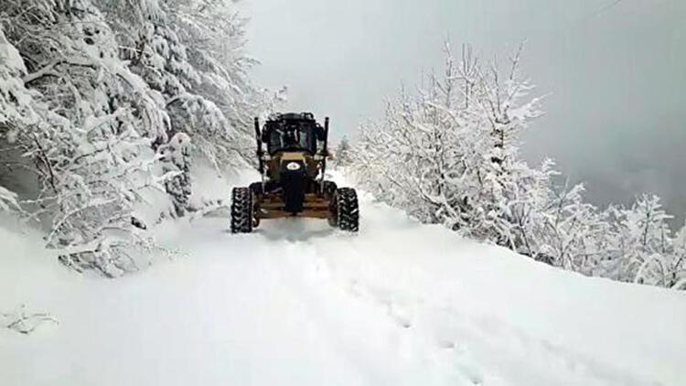 Düzce'de kar yağışı nedeniyle köy yolları ulaşıma kapandı