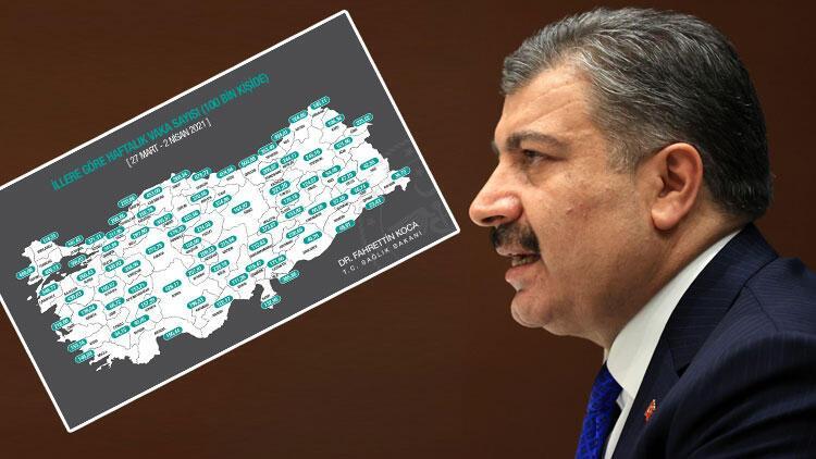 Son dakika haber... Bakan Koca, haftalık vaka sayısını gösteren haritayı paylaştı