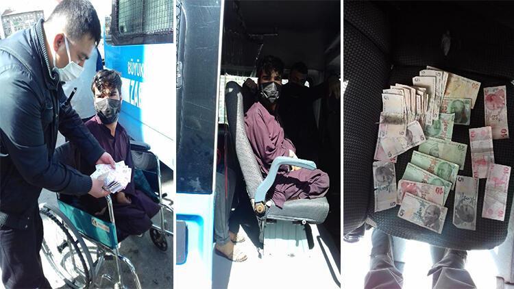 Tekerlekli sandalyede dilenirken yakalandı