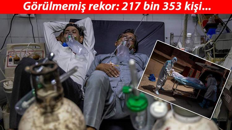 Son dakika haberler... Bir yatakta iki hasta! Hindistan'da günlük vaka sayısı 217 bini aştı