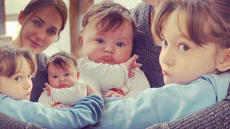 Meryem Uzerli'den kızları Lara ve Lily Koi ile yeni poz