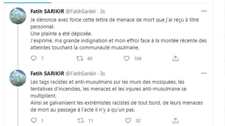 Fransa İslam Toplumu Milli Görüş Başkanı Sarıkır, ölümle tehdit edildi