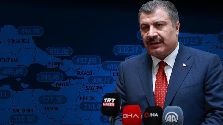 Son dakika haber... Sağlık Bakanı Fahrettin Koca, illere göre haftalık corona vaka sayısı haritasını paylaştı