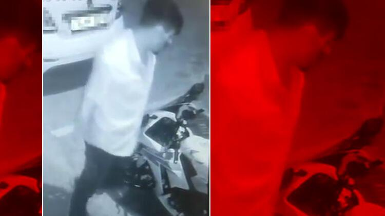 Silivri'deki motosiklet hırsızlığı kamerada