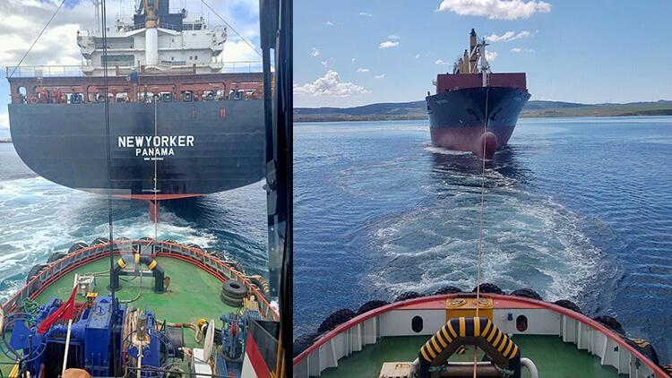 Gelibolu açıklarında sürüklenen konteyner gemisi, römorkörler tarafından kurtarıldı