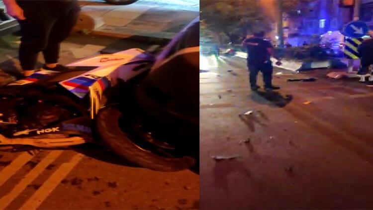 Feci kaza! Taksi ile 2 motosiklet çarpıştı