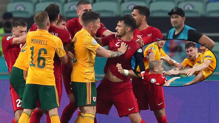 Son dakika EURO 2020 haberi! Türkiye-Galler maçında saha karıştı! 2 kişi Burak Yılmaz'ı itti ve...