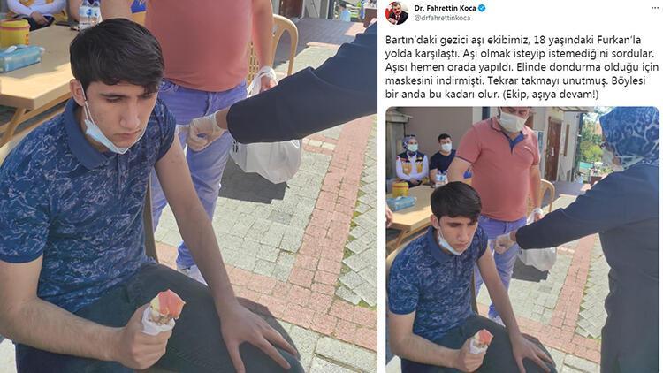 Bartın'da dondurma yiyen genç, aşısını gezici ekibe yaptırdı