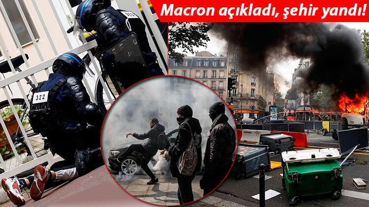 Fransa'da inanılmaz görüntüler... Macron kararları kaos yarattı, sokaklar yangın yerine döndü!
