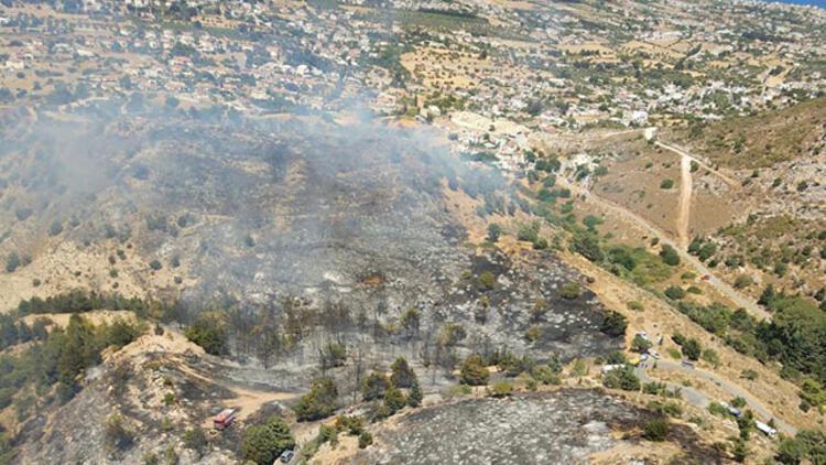KKTCdeki yangın söndürme çalışmalarına İHA ve helikopterle destek