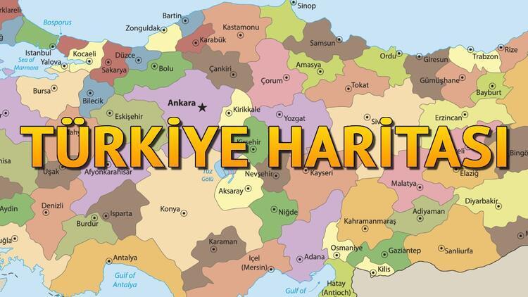 Türkiye Haritası Siyasi - Şehirler (İller), Bölgeler, Göller ve Komşuları İsimleri ile Listesi (Büyük & Renkli)
