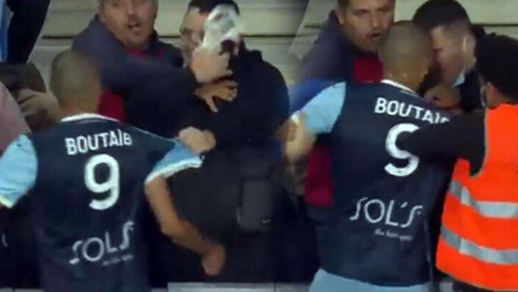 Son dakika - Le Havrede Khalid Boutaib tribündeki taraftarla kavga etti