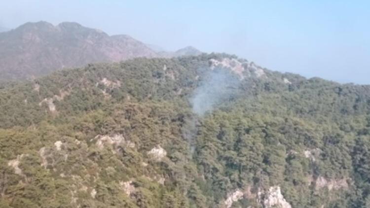 Son dakika Muğlanın Marmaris ilçesinde orman yangını