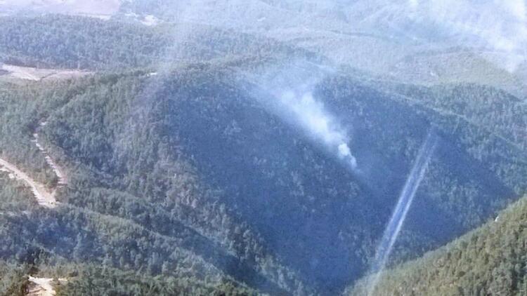 Manisada yıldırım düştü; orman yangını çıktı