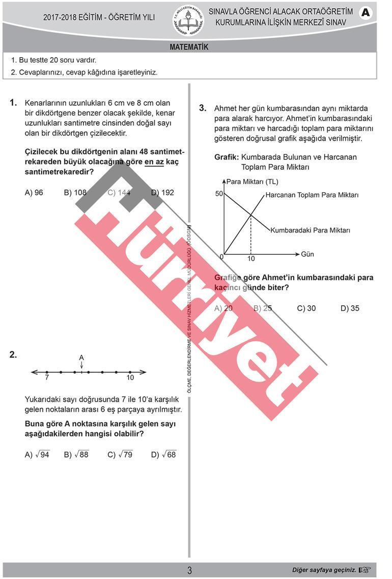 Işte Lgs Matematik Soruları Ve Cevap Anahtarı Eğitim Haberleri