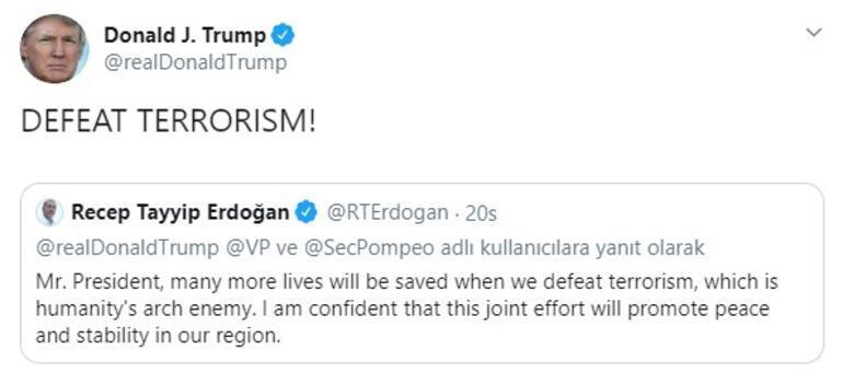 Trump, Erdoğanın Tweetini alıntıladı ve bu mesajı verdi: Terörizmi yenelim