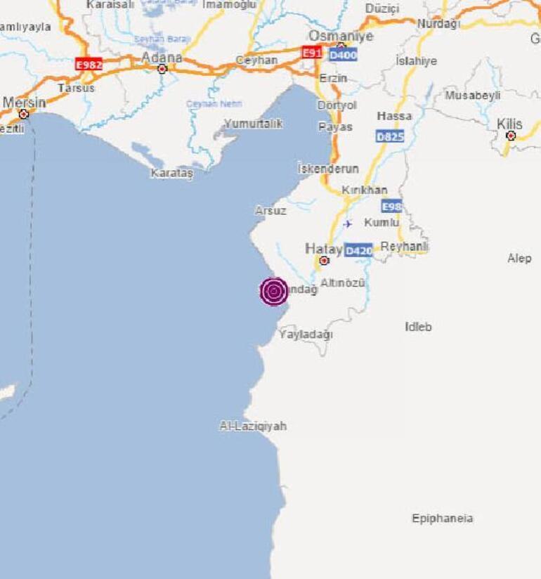 Antakya Körfezinde 3.5 büyüklüğünde deprem