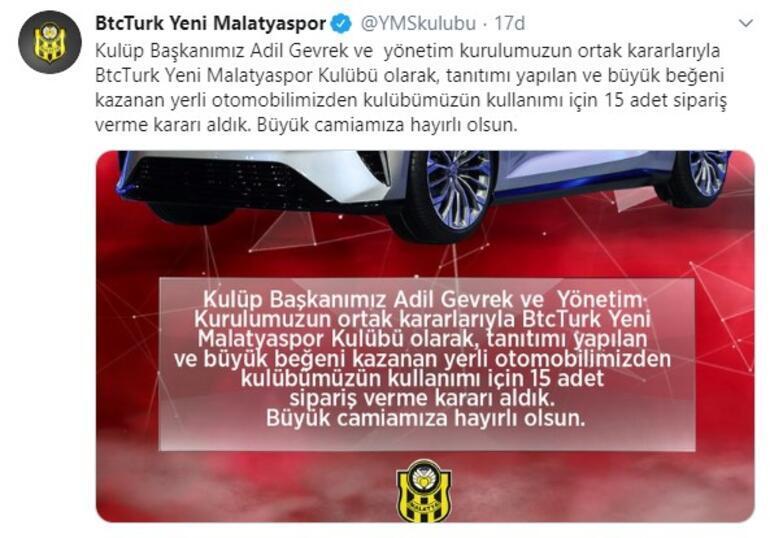 Yeni Malatyaspor 15 yerli otomobil siparişi verdi