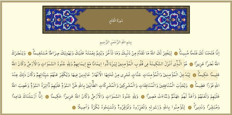 Fetih Suresi Oku ve Dinle - Fetih Duası Türkçe ve Arapça Okunuşu, Fazileti, Anlamı, Tefsiri (Diyanet Meali)