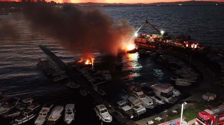Kartalda 6 tekne alev alev yandı
