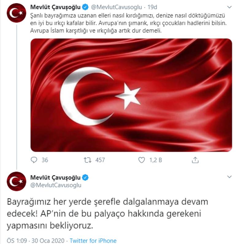 Son dakika haberler... Bakan Çavuşoğlundan Türk Bayrağını yırtan Yunan vekile tepki