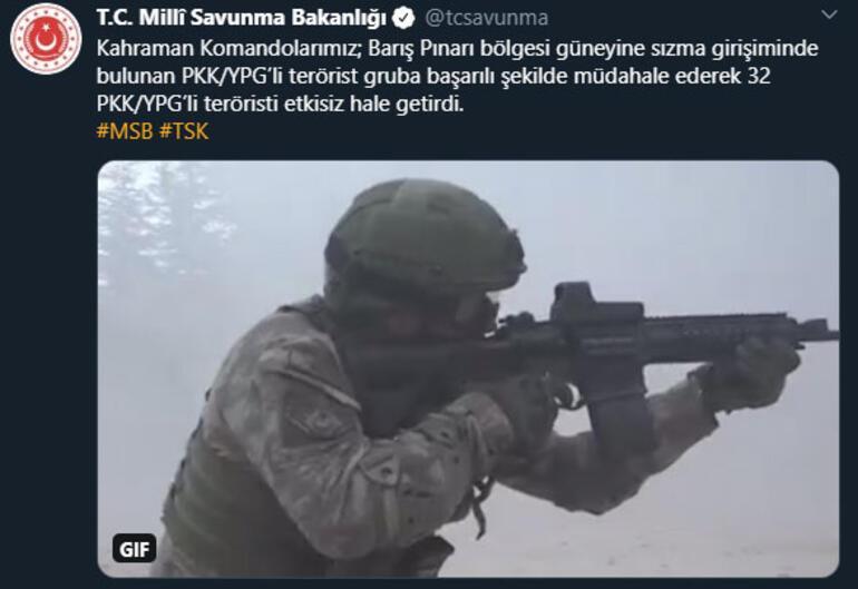 Son dakika haberler... MSBden flaş açıklama: 32 PKK/YPGli terörist etkisiz hale getirildi