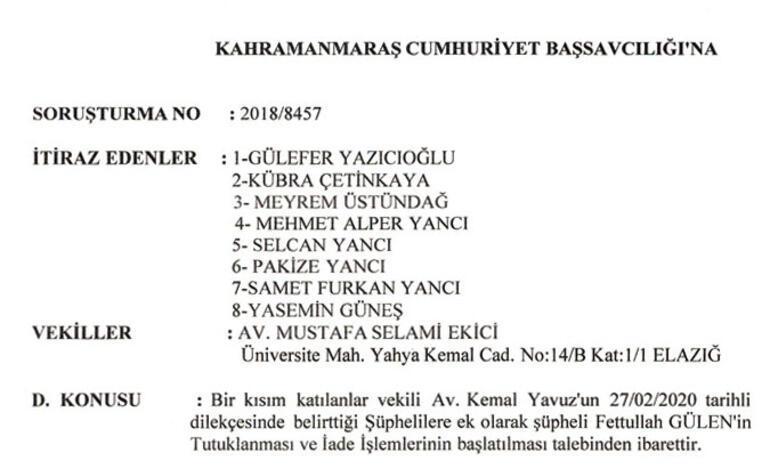Yazıcıoğlu suikastında FETÖ elebaşına tutuklama istemi