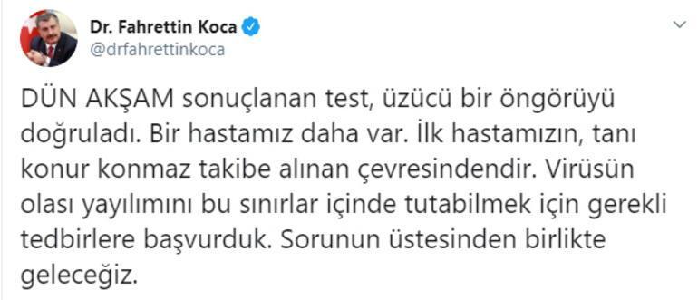 Son dakika haberleri: Sağlık Bakanı Fahrettin Koca duyurdu Corona virüsü olan bir hastamız daha var...