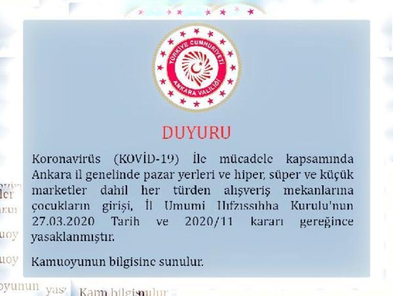 Son dakika haberleri... Ankara Valiliği yeni Corona Virüs önlemini duyurdu: Pazar ve marketlere çocukların girişi yasak