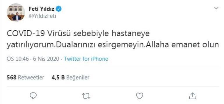 Milletvekili Feti Yıldız, koronavirüs nedeniyle hastaneye kaldırıldı