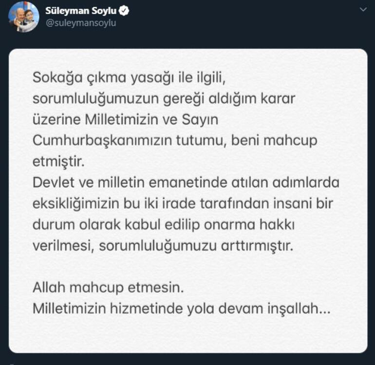 Breaking news ... Statement from Interior Minister Süleyman Soylu: Those messages touched my heart