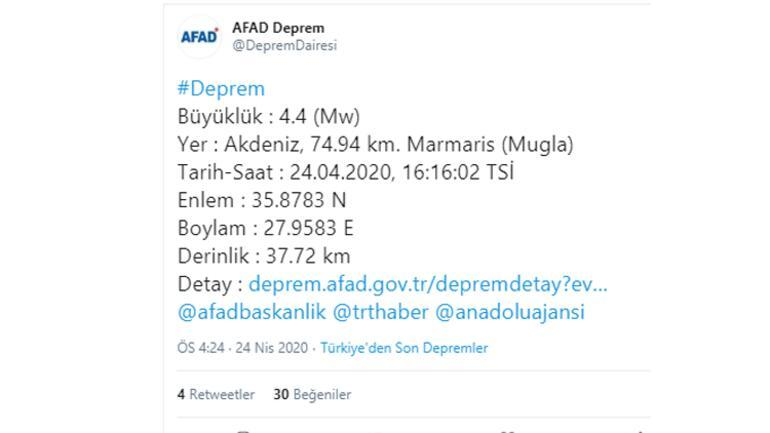 Son dakika haberler: Akdenizde 4.4 büyüklüğünde deprem