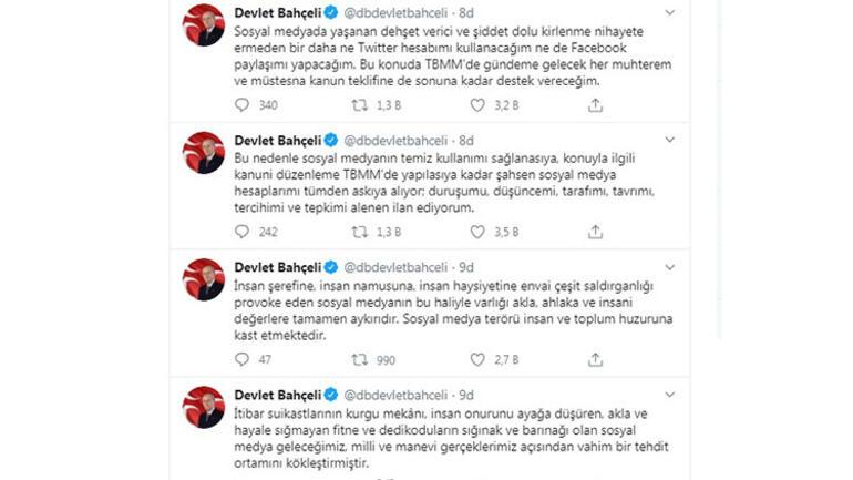 Son dakika haberi: MHP Lideri Devlet Bahçeliden sosyal medya tepkisi