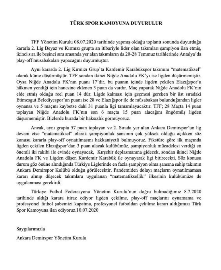 Son Dakika | Ankara Demirspor TFFnin aldığı karar sonrası ligden çekildi
