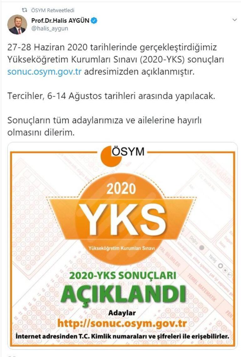 YKS 2020 sonuçları açıklandı: ÖSYM TYT AYT YKS sınav sonuçları ve baraj puanı bilgileri