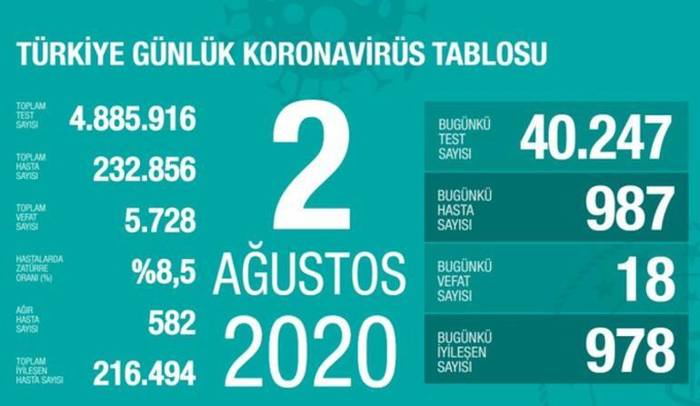 Son dakika haberi: 2 Ağustos korona tablosu ve vaka sayısı Sağlık ...