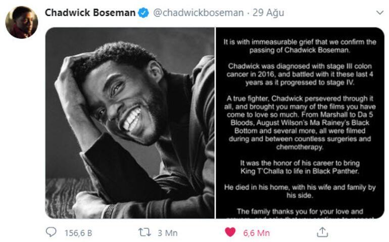 Chadwick Boseman, ölümünün ardından Twitterda rekor kırdı