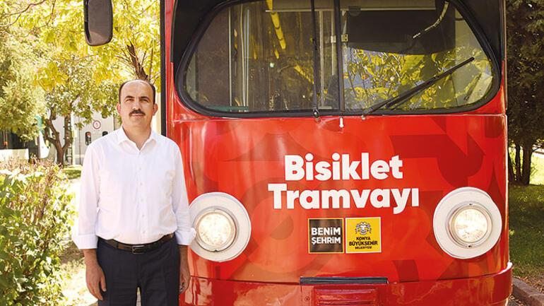 Bisiklet şehri Konya'dan Türkiye'de bir ilk: Bisiklet tramvayı raylarda