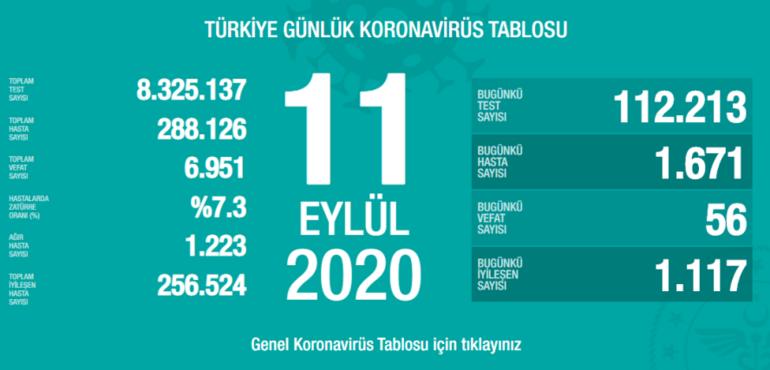 Son dakika haberi: Sağlık Bakanlığı, 11 Eylül korona tablosu ve vaka sayısını açıkladı