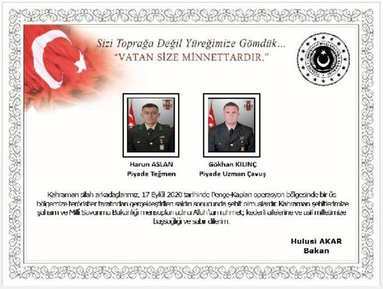 Son dakika haberi: Pençe-Kaplan operasyon bölgesinde 2 asker şehit oldu, 1 asker yaralandı