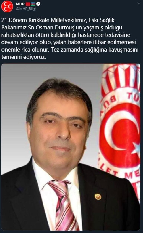 MHPden Osman Durmuşun hayatını kaybettiği iddiasına yalanlama