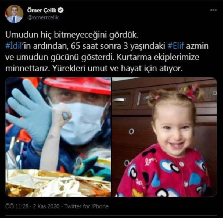 Önemli mesaj: Mucize.  3 yaşındaki Elif, 65 saat sonra enkazdan serbest bırakıldı.  Hastaneden ilk fotoğraf
