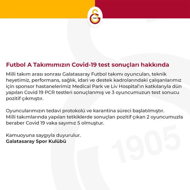 Son Dakika | Galatasarayda 3 futbolcunun virüs testi daha pozitif çıktı Arda Turan da Covid-19a yakalandığını açıkladı